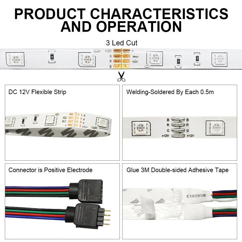 RGB LED tira de Luces 12V Bluetooth WiFi Luces Led DC 5050 SMD2835 Flexible impermeable cinta de luz con Control remoto para la habitación