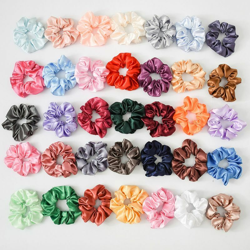 20Pcs Korea Satin Elastic Hair Bands Scrunch Ponytail Holder Scrunchy Hair Ties Solid Color Women Girls Headwear Ponytail Holder