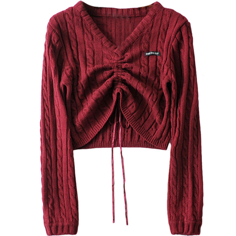 INS Style V-neck Sweater Women's American Niche Retro Drawstring Pleated Small Top Short Navel Knitted Lightweight Sweater