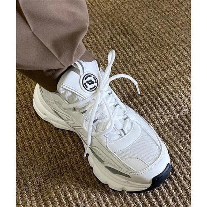DEEPTOWN-Zapatillas deportivas de deporte para mujer, zapatos planos informales para correr, color blanco, Harajuku, cómodos, 2021