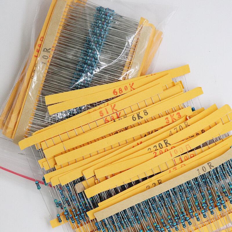 Nuevo 600 Uds 30 tipos de cada valor de resistencia de película de Metal Paquete 1/4W 1% resistencia Kit surtido conjunto 14-21