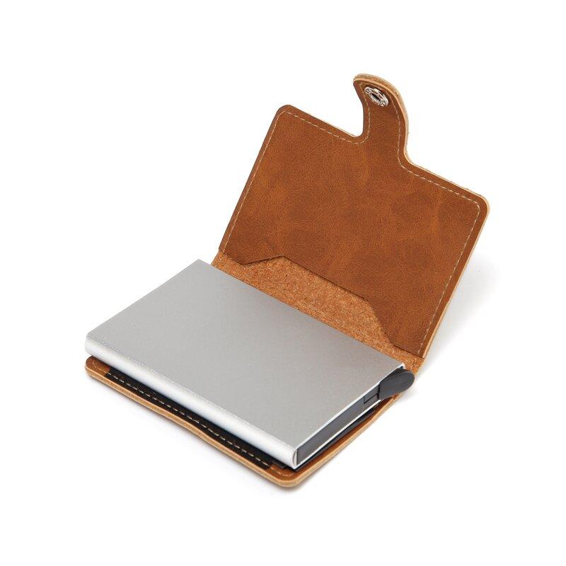 남자 크레이지 호스 가죽 자동 신용 카드 홀더 지갑 알루미늄 미니 지갑 다시 포켓 ID 카드 RFID 차단 지갑
