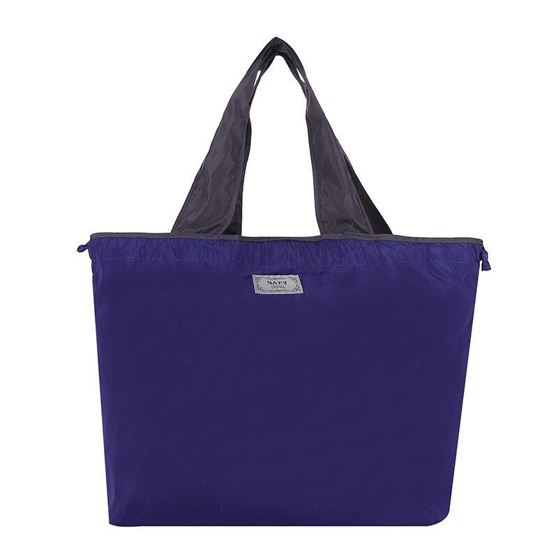 Solid Color Large Reusable Grocery Bag Foldable Shopping Bag Large Capacity Drawstring Bag Travel Drawstring Shoulder Bag Tote