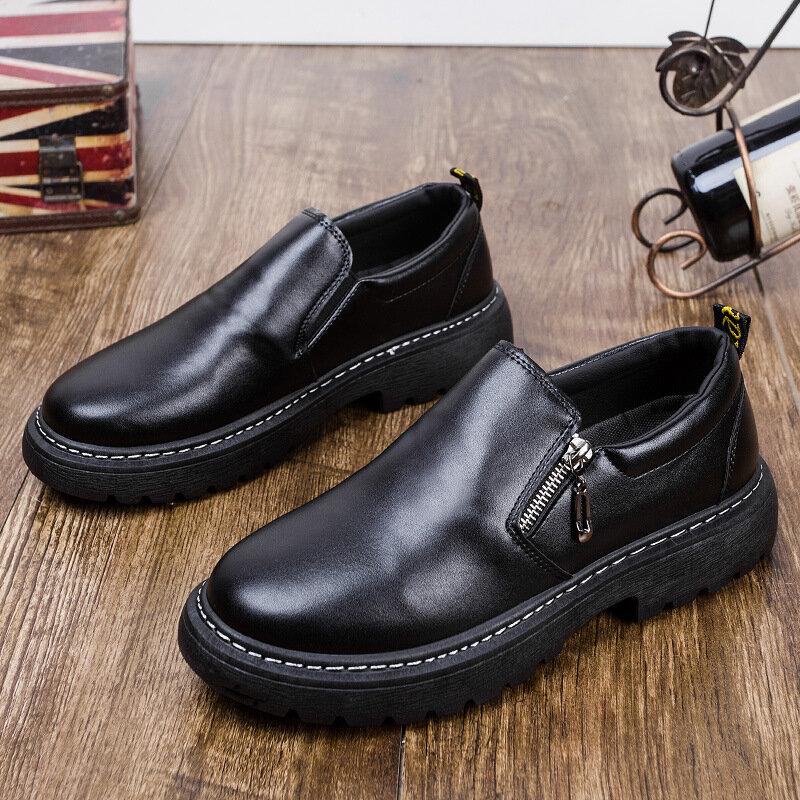 Chaussures basses en cuir pour homme, tendance, mode sauvage, à semelle épaisse, nouvelle collection 2020