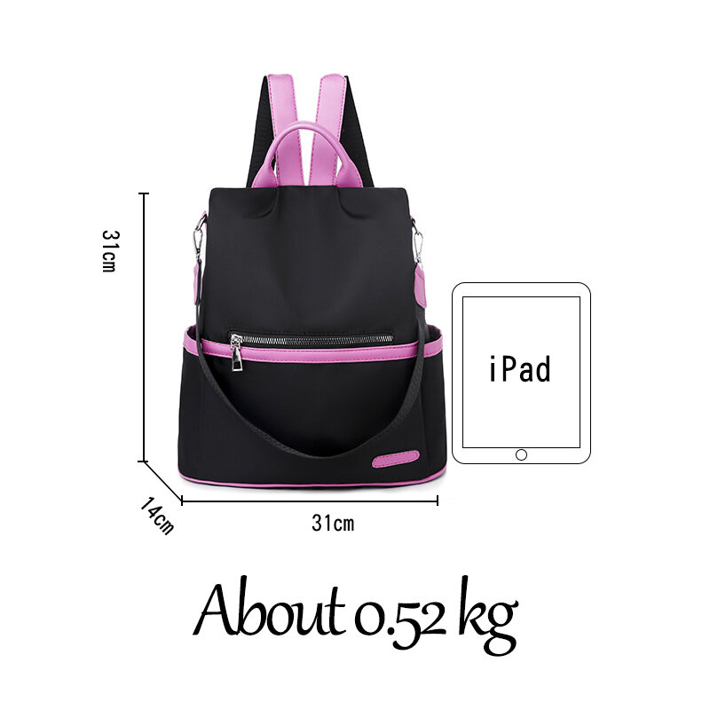 Women Backpack Casual Waterproof Oxford Cloth Large Capacity Shoulder Bags for Women 2021 Casual Concise Travel Crossbody