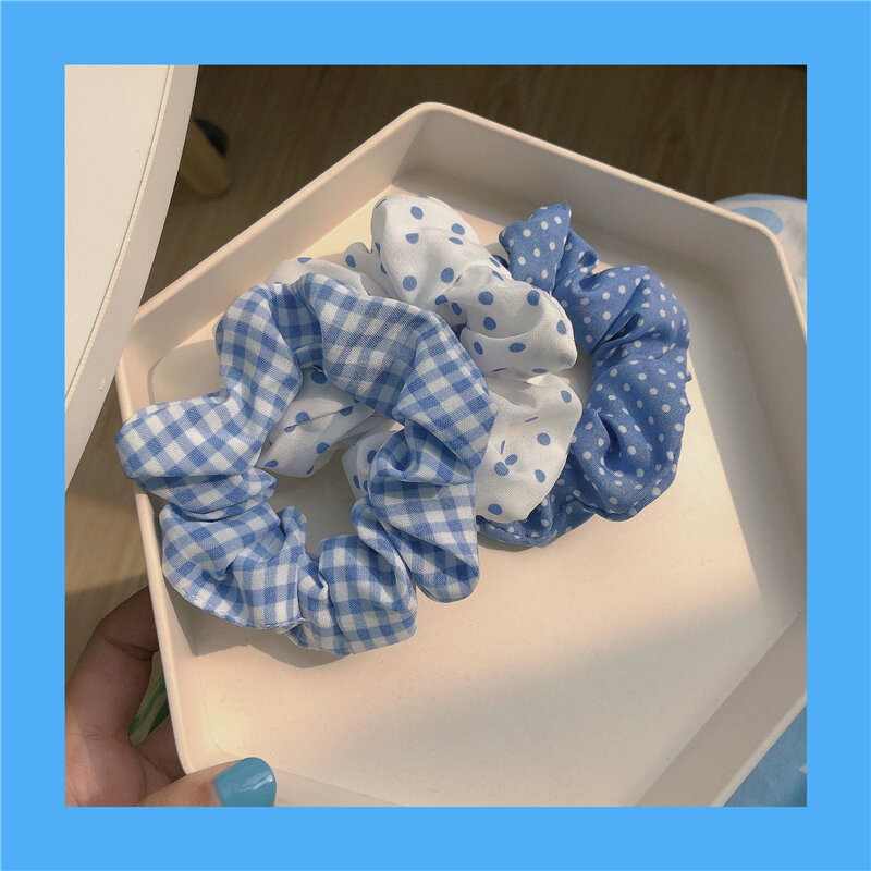 Blue Large Intestine Ring 3 Pack ~ Spring and Summer New Hair Band Ins Polka Dot Dots Plaid Hair Rope Hair Rope Sweet Hair