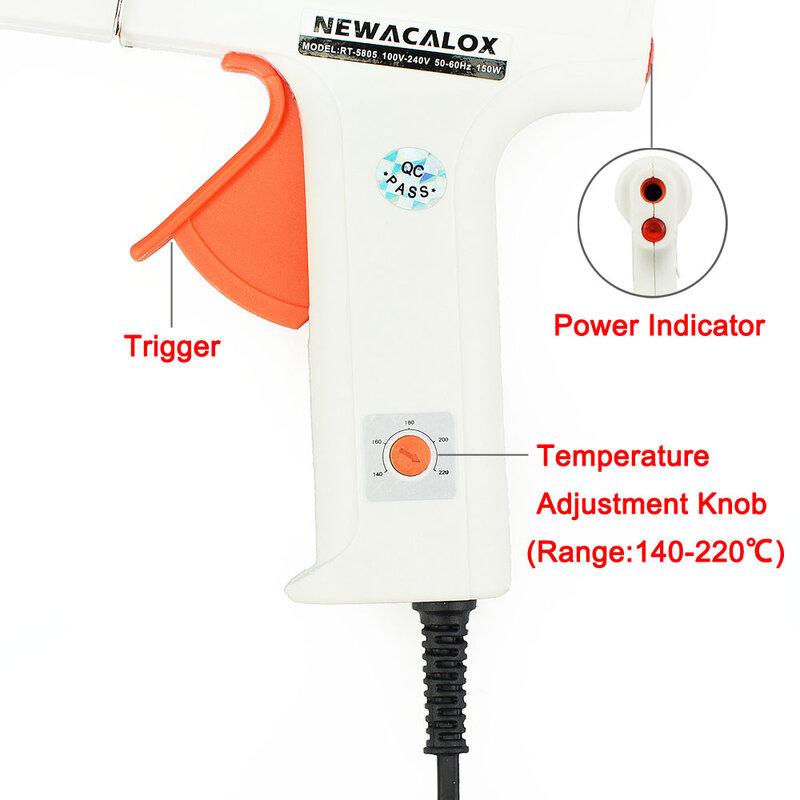 NEWACALOX-مسدس غراء لصهر الغراء الساخن 150 واط ، أداة إصلاح الحرارة ، مسدس سيليكون كهربائي صناعي 11 مللي متر