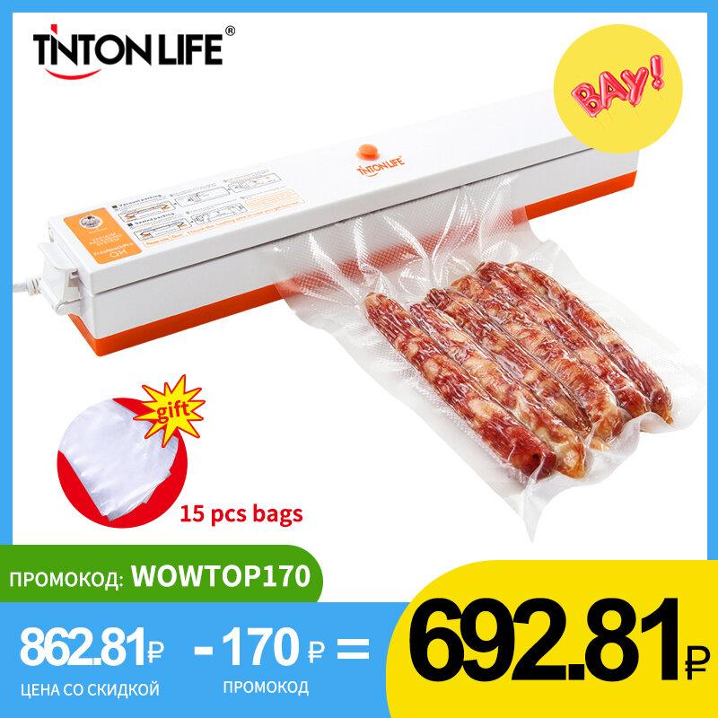 TINTON LIFE Envasadora al Vacío 100W con 2 Modos para Alimentos Secos Sellador al vacío Automático con 15 Bolsas de Vacío