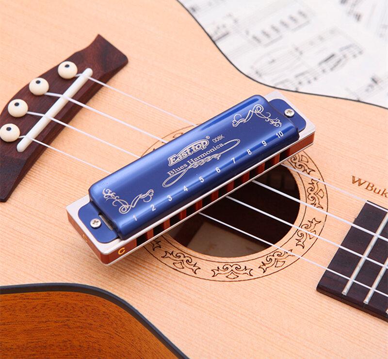 Easttop Harmonica Diatonic 10 หลุม Armonica Blues Harp C D E F G A B Key ปาก Ogan Musical Instrument professional gaita