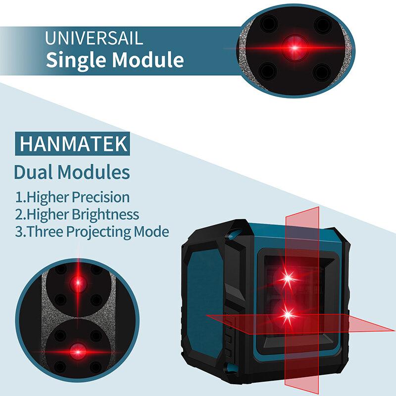 HANMATKE LV2 مستوى الليزر مع 2 خطوط من شعاع أحمر يمكن فصل الخط الرأسي والخط الأفقي إلى مستوى تلقائيا