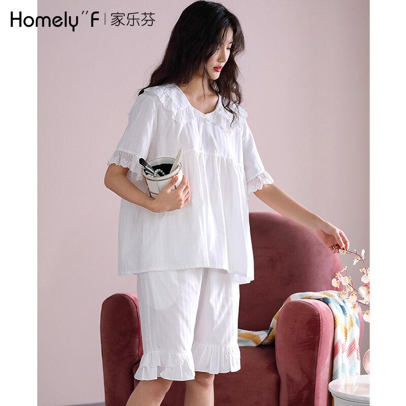 Pajamas Women's Summer Pure Cotton Shorts Home Wear Summer Thin Cotton Sweet Japanese Cute Princess Style Fairy