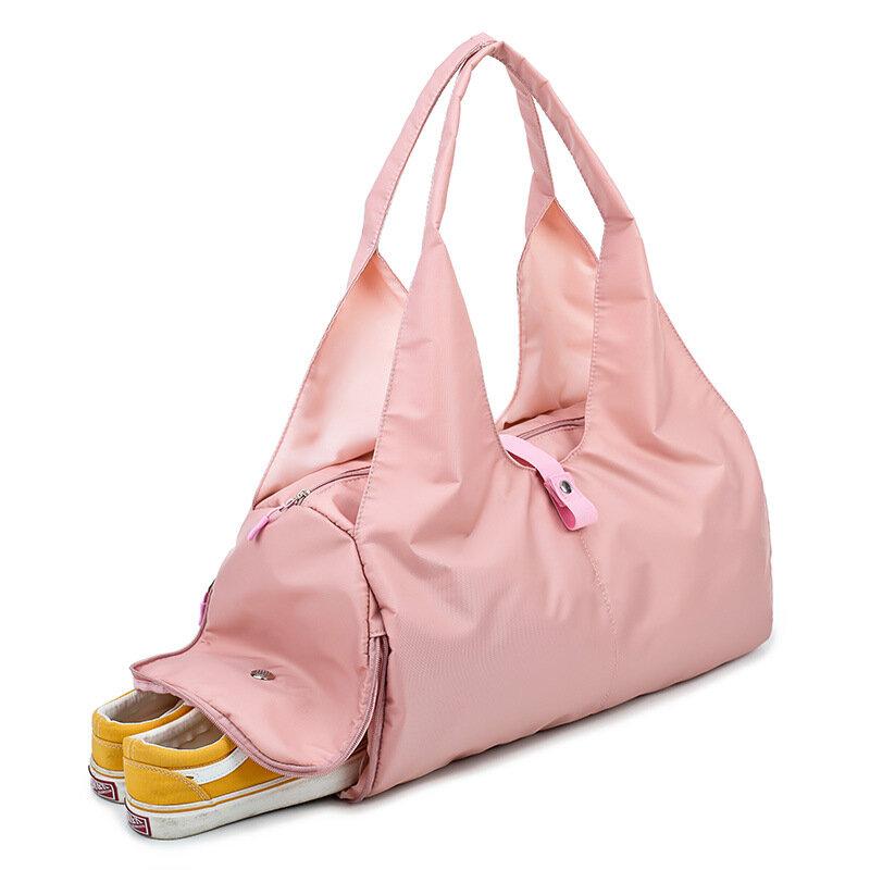 대용량 접이식 체육관 가방 여성 여행 더플 가방 주말 가방 요가 가방 핑크 더플 가방 토트 수영 스포츠 가방 큰 가방 여성