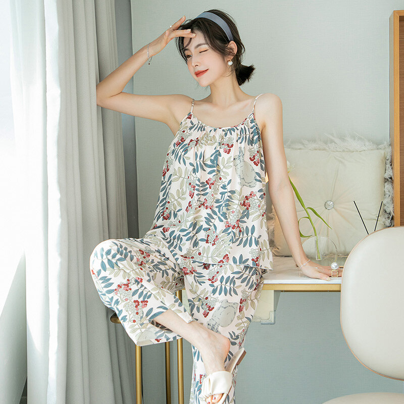 Sexy Little Suspenders Pajamas Women's Summer Thin Ins Style Rayon Home Wear Japanese Spring and Autumn Bourette Suit
