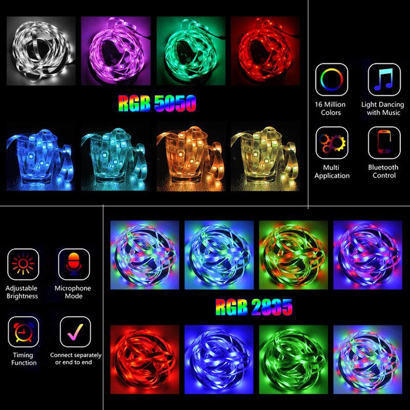 적외선/블루투스/WiFi LED 스트립 조명 RGB 5050 2835 유연한 램프 테이프 리본 DC 12V 5M 10M 원격 제어 + 어댑터