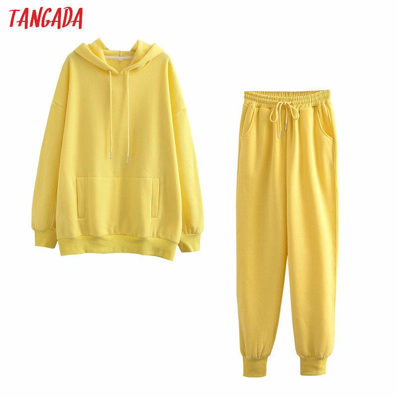 Tangada 2020 Herbst Winter Frauen trainingsanzug dicken fleece 100% baumwolle anzug 2 stück sets hoodies sweatshirt und hosen anzüge 6L17