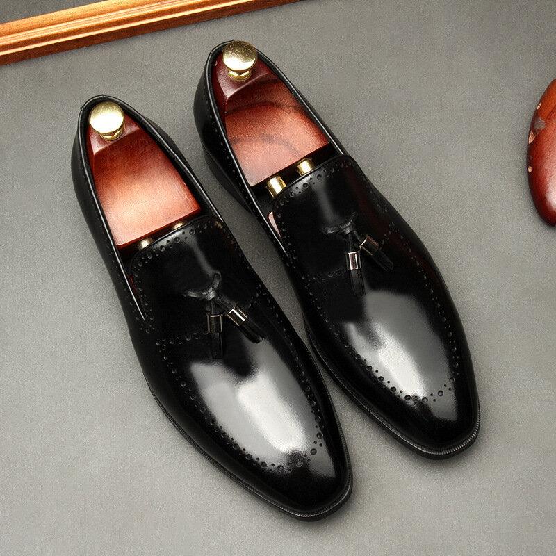 Chaussures habillées à pompon pour hommes, Style Brogue, chaussures de mariage en cuir, oxford formelles, 2020