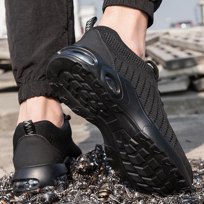 Chaussures de sécurité à la mode pour hommes, chaussures à bout en acier Anti-perforation, baskets de travail indestructibles, bottes de sécurité pour hommes, chaussures de travail