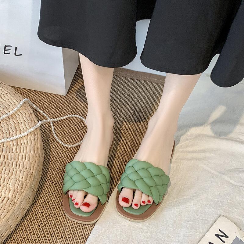 YISHEN-Zapatillas de temperamento para mujer, Sandalias planas informales de playa con diseño trenzado y Punta abierta, para vacaciones
