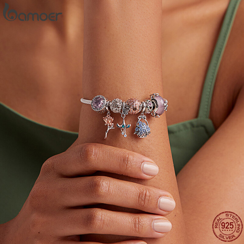 BAMOER أصيلة 925-الاسترليني والفضة الكلب الحيوان بصمة القط القلب الحب فاصل سوار صالح لتقوم بها بنفسك الأصلي SCC594