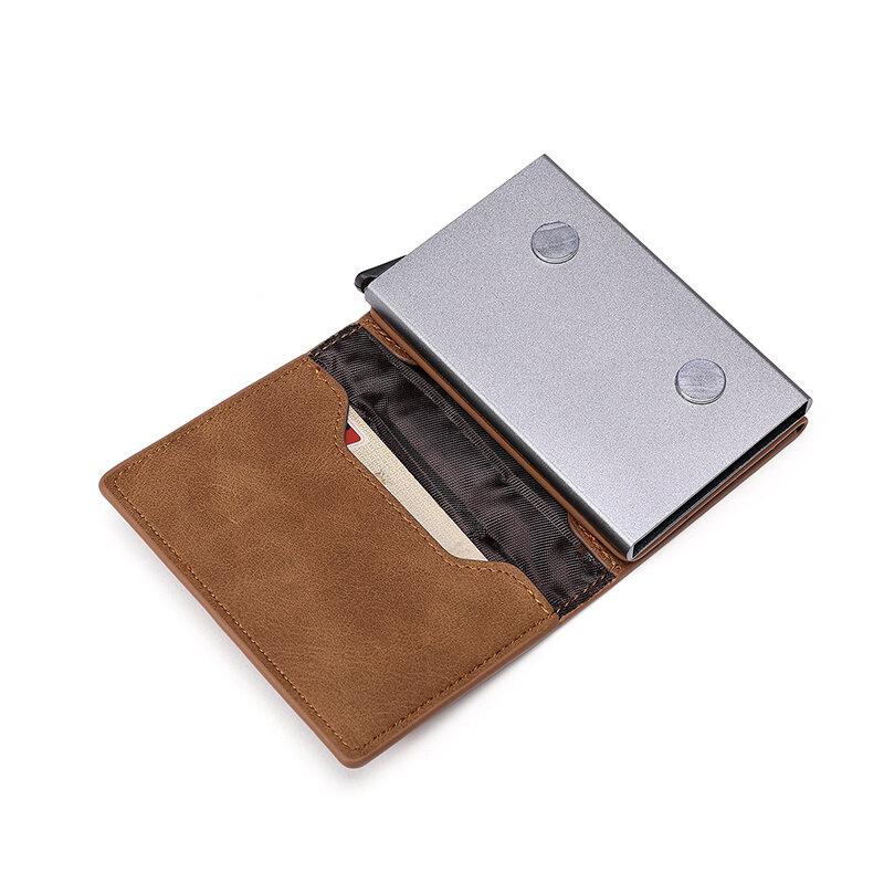 Zovysig-남성용 RFID 차단 신용 카드 홀더 지갑 지퍼 작은 동전 지갑 돈 지갑 이름 가방 PU 가죽 알루미늄 금속 탑