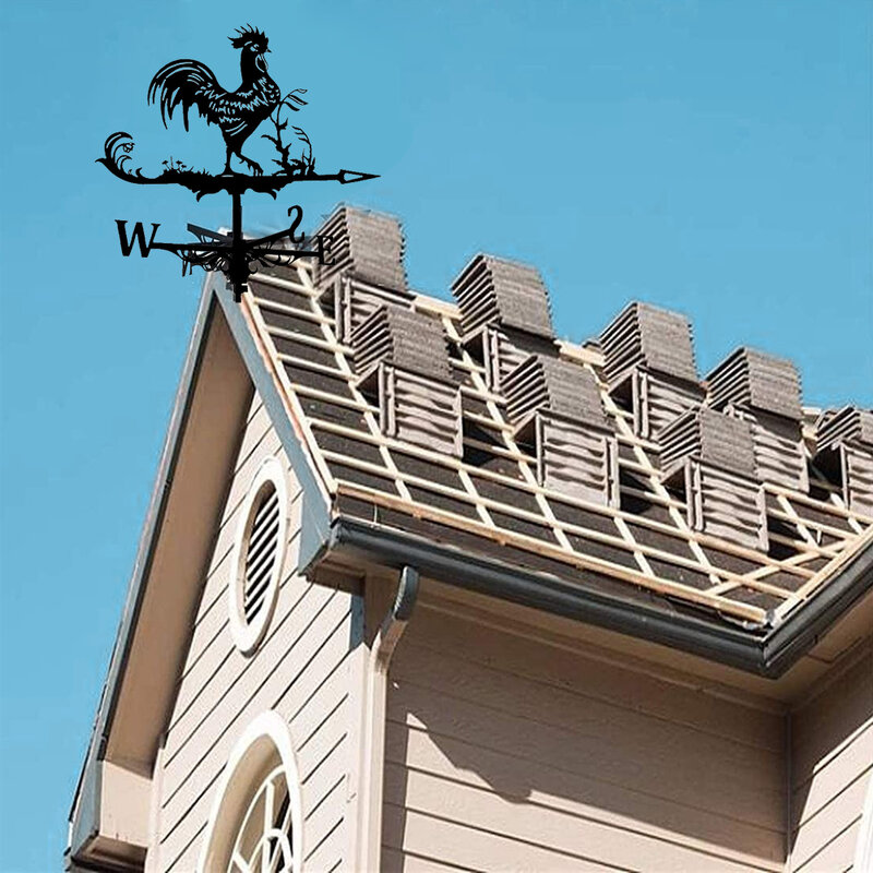 Weathervane 정원 스테이크 바람 장식 표시기 측정 도구 옥상 마운트 수탉 패턴 장식 야외 농가 야드에 대 한