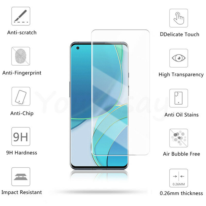 Full Glue Glass For OnePlus 9 Tempered Glass For OnePlus 9 9R 8T Screen Protector For OnePlus 9 Protective Glass Phone Film