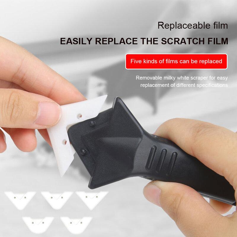 3-in-1 코킹 도구 세트 5 개의 조인트 실리콘 리무버 패드가있는 유리 접착제 앵글 스크레이퍼 그라우트 코크 피니셔 실란트 부드러운 스크레이퍼