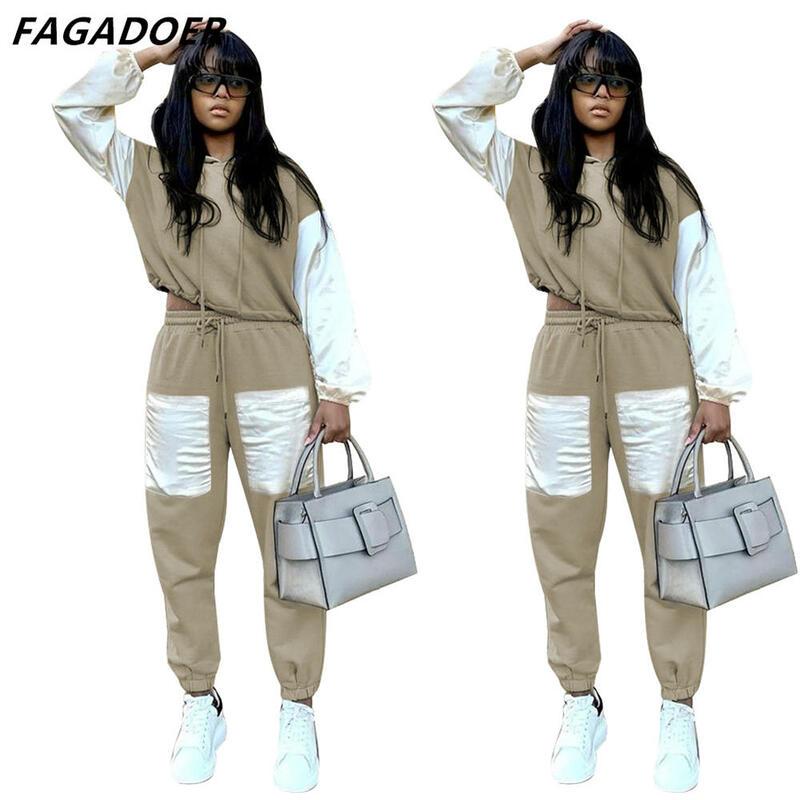 FAGADOER High Street Women Sweatsuits Khaki Color Patchwork Hoodies And Sweatpants Autumn Winter Tracksuits Sporty Streetwear