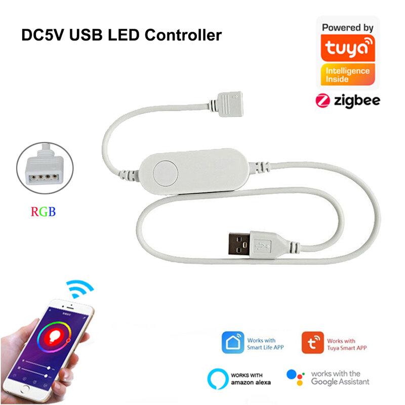 TUYA Zigbee USB LED franja de DC5V 1M 2M 3M 4M 5M Flexible RGB lámpara de luz de iluminación de fondo de TV eco Plus Google Control de voz