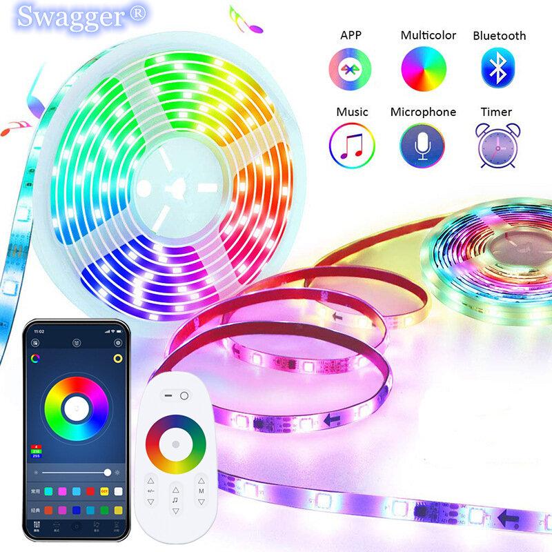 Tira de luces LED RGB DC12V 5050 2835, cinta de diodos Flexible, resistente al agua, WiFi, bluetooth, mando a distancia, lámpara de decoración para habitación Festiva