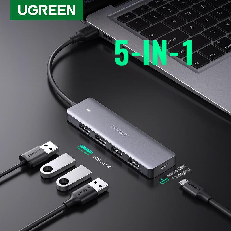 Ugreen-USB 3.0 HUB متعدد المنافذ ، 3 منافذ USB 2.0 مع شاحن Micro-USB ، ملحقات كمبيوتر MacBook Surface Pro