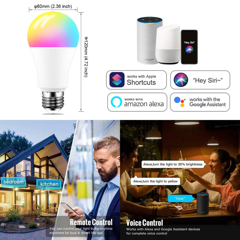 Siri 음성 제어 15W RGB 스마트 전구, 조도 조절 가능 E27 B22 WiFi LED 매직 램프 AC 110V 220V Alexa Google home과 호환