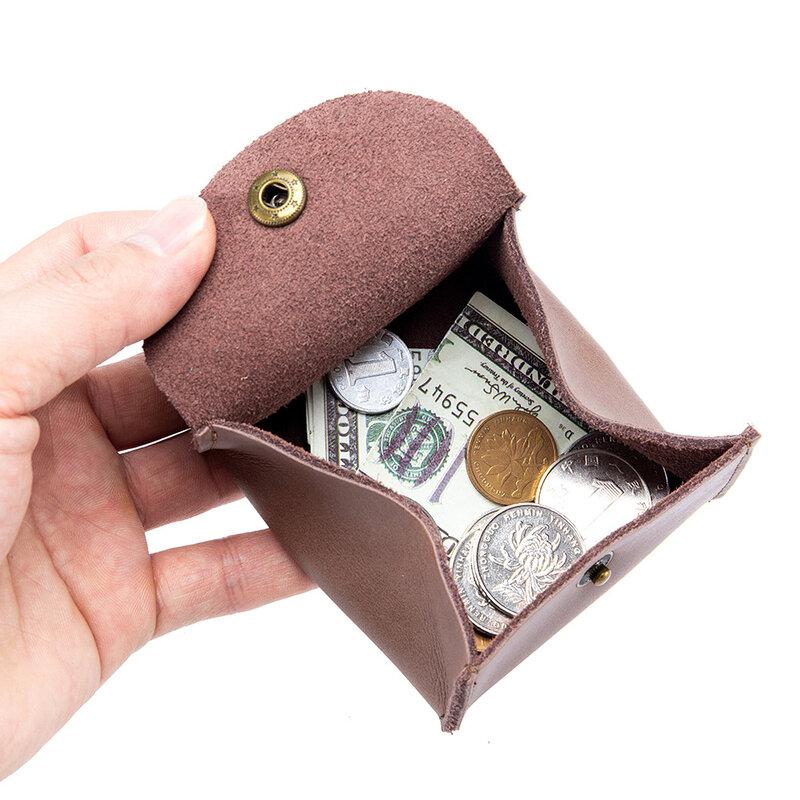 6 색 휴대용 정품 가죽 동전 지갑 빈티지 디자인 개별 이어버드 이어폰 홀더 파우치 여성 남성 미니 지갑