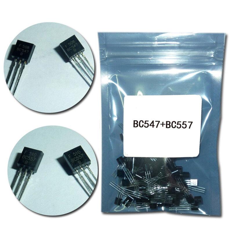 (50 قطعة/الوحدة) BC547 + BC557 كل 25 قطعة BC547B BC557B NPN PNP الترانزستور إلى-92 قوة الصمام الثلاثي الترانزستور كيت حقيبة