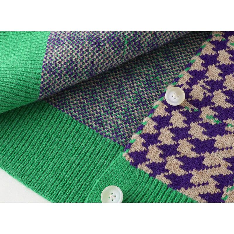 Kobiety w stylu koreańskim moda Houndstooth Cardigan sweter 2021 jesień z długim rękawem O-neck Casual leniwy wiatr ponadgabarytowy płaszcz z dzianiny