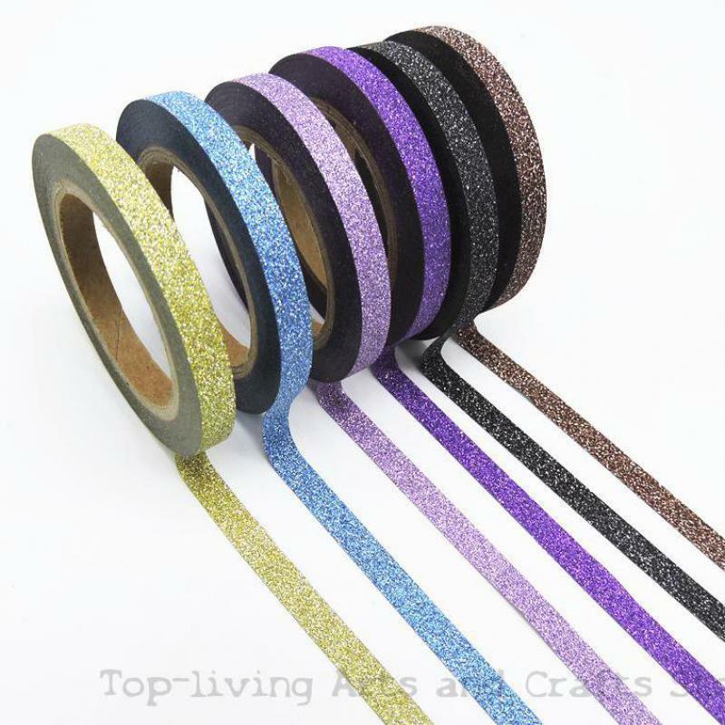 6 pz/set Washi Glitter Set di nastri diversi colori cancelleria giapponese Scrapbooking nastri decorativi qualità nastro adesivo