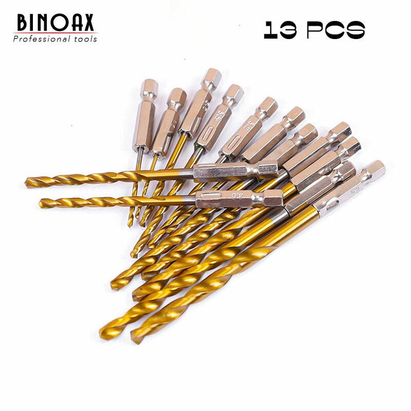 BINOAX-مجموعة مثقاب مطلية بالتيتانيوم HSS ، مثقاب ملتوي 1.5-6.5 مللي متر 1/4 ، ساق سداسية ، 13 قطعة