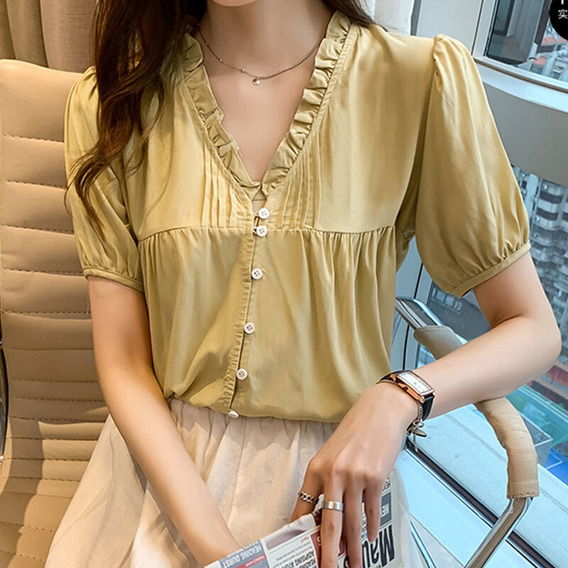 2021 Japón Corea del novedad de verano blusa de temperamento de Color sólido de cuello en V hongo prensa Single-breasted de verano Casual