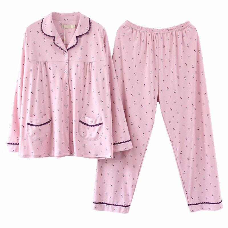 Circunferencia de pecho 140 primavera otoño medio-Edad y pijamas para personas mayores madre gorda-en-ley de algodón grueso Homewear traje Extra