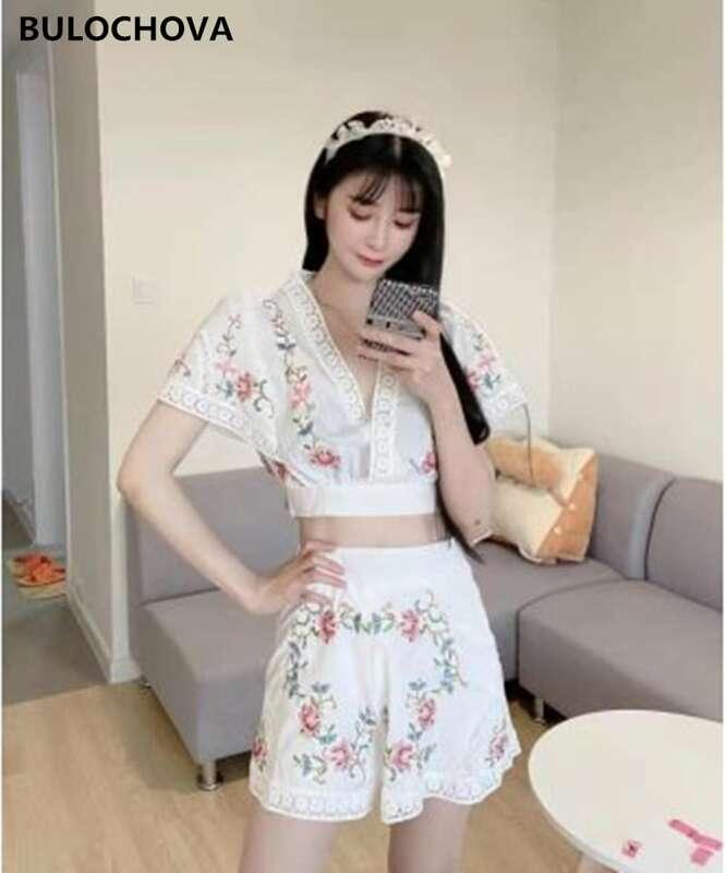 BULOCHOVA 2021 New Summer Fashion Women's Shorts Suits Clothes V Neck Embroidery Short Tops + Short Pants 2 Pieces Sets Female