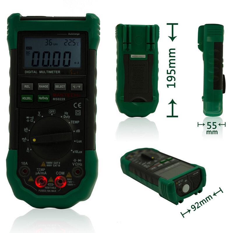 Mastech-مقياس رقمي متعدد الوظائف MS8229 5 في 1 ، جهاز اختبار درجة الحرارة والرطوبة مع نطاق تلقائي