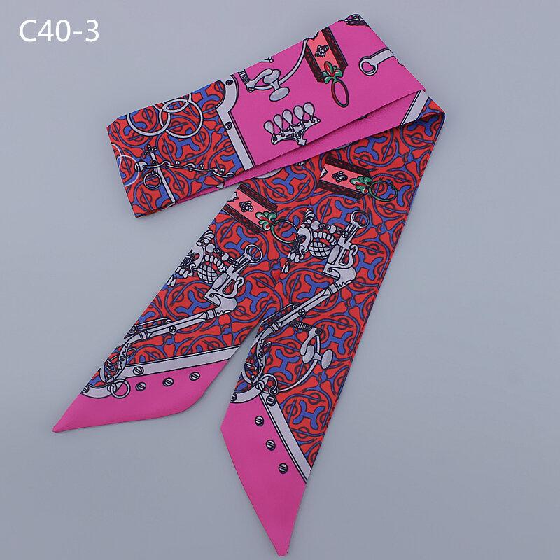 Bufanda de seda para mujer, con cadena con letras impresas, asa para bolso, cintas para la cabeza, bufandas delgadas largas y pequeñas