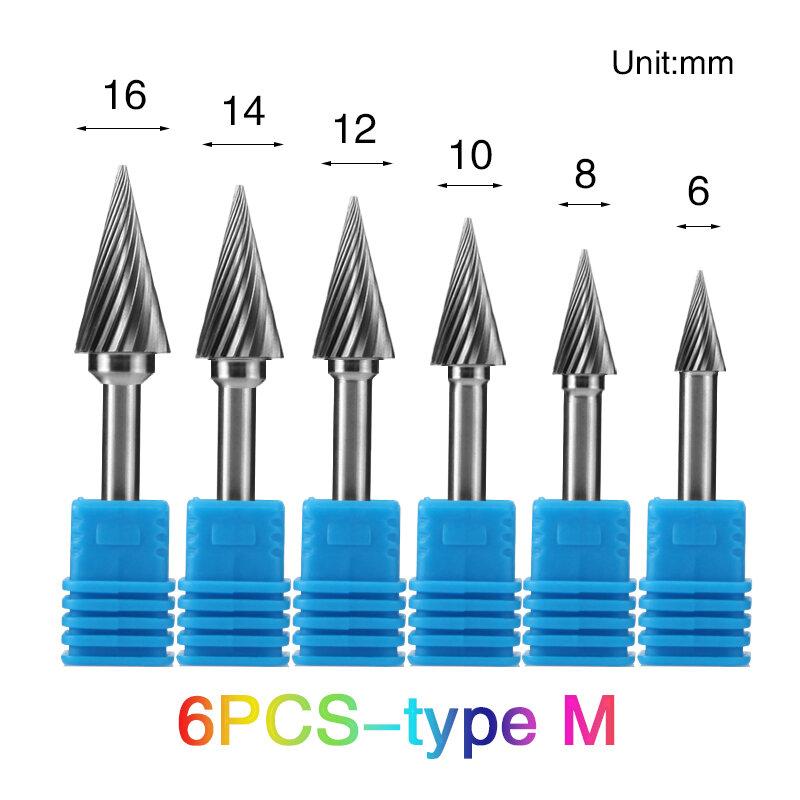 Herramientas de mano tipo M, Lima rotativa de carburo de tungsteno, brocas para cabezal de metal, cortador de fresado de Metal duro para cobre