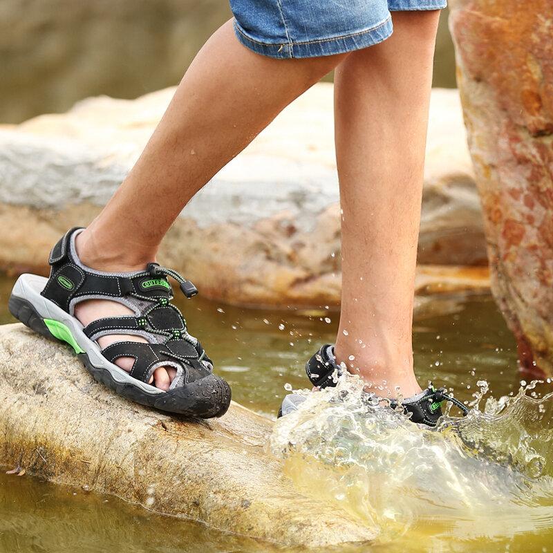 Sandales de plage en cuir véritable pour homme, chaussures d'extérieur, de marche, grande taille 48, à la mode, été