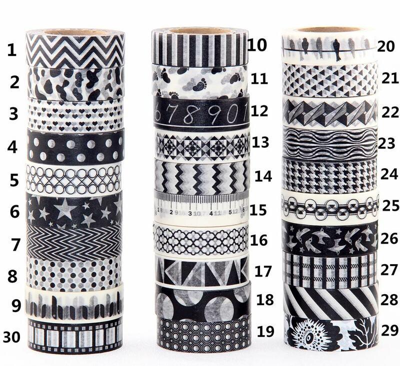 شريط واشي أسود ، 1 × 10 م ، سكرابوكينغ ، ملصق زخرفي ، شريط واشي ياباني ، DIY