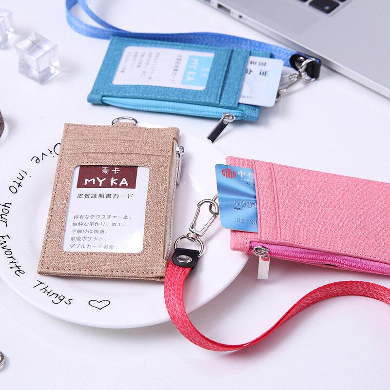 패션 카우보이 가죽 짧은 지갑 여성 캐주얼 끈 작은 지갑 남성 Pu 슬림 얇은 비즈니스 ID 카드 가방 매달린 로프