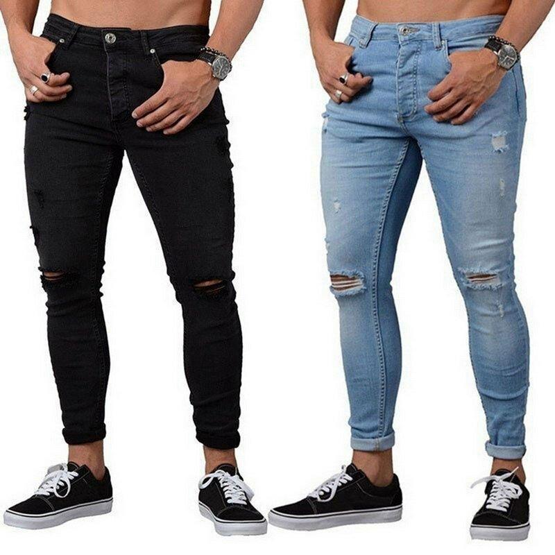 Nibesser 2021 Moda Casual Hombres Skinny Stretch Denim Pantalones Rotos De Freyed Pantalones Vaqueros Cenidos Pantalones Para Hombre Pantalones Vaqueros