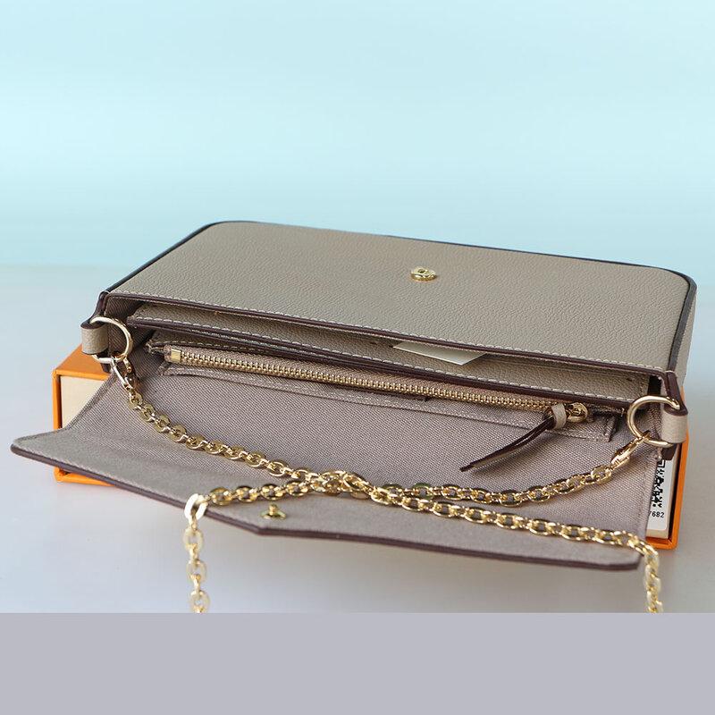 Women's Handbag Classic Luxury Brand Crossbody Bag Silk Screen Flower Chain Bag Gradient Color Three In One Shoulder Bag And Box