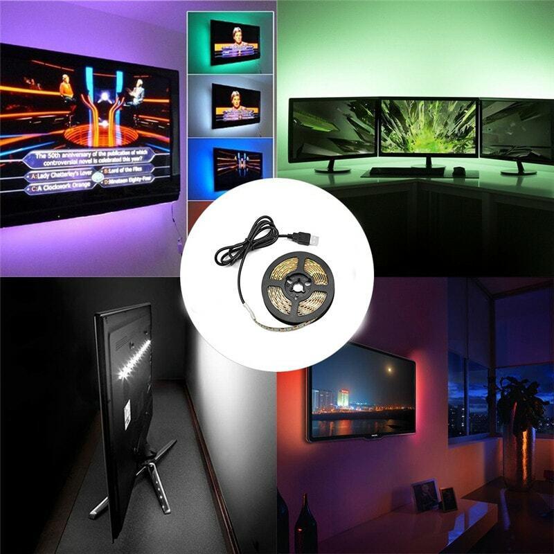 LED luces de tira RGB SMD2835 DC5V 1M 2M 3M 4M 5M USB Control de infrarrojos lámpara Flexible cinta de iluminación de fondo de TV Led luces