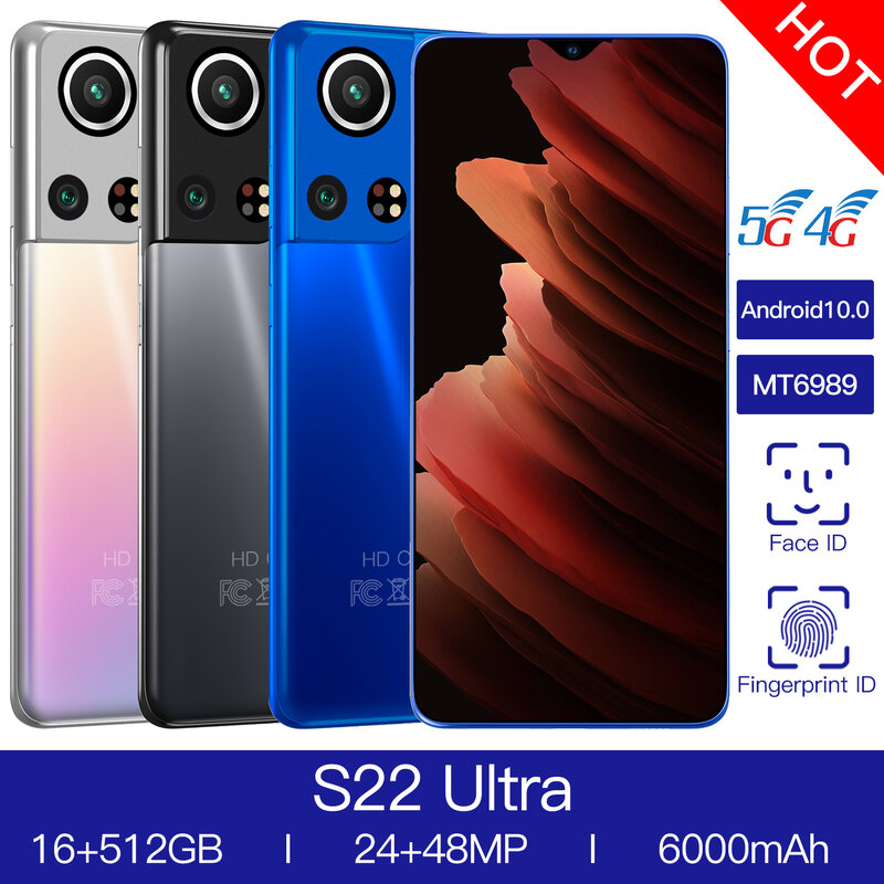 Mobile Phone S22 Ultra 5G 16GB 512GB Smartphone Samsug Global Version Android 10 Newest  6000mAh 6.7 '' Full Screen LTE Network